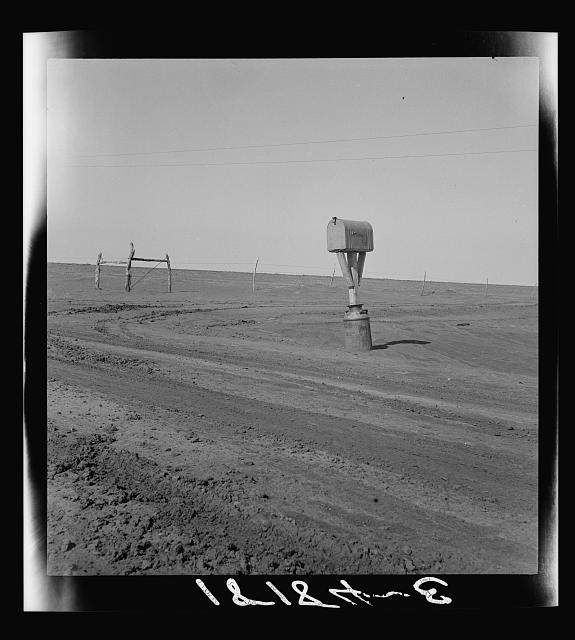 Mailbox in Dust Bowl. Photo by Dorothea Lange.